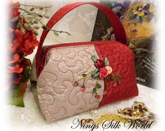 Stunning Hand Crafted Silk Ribbon Embroidery Roses Handbag Purse Evening Bag Cosmetic Pouch