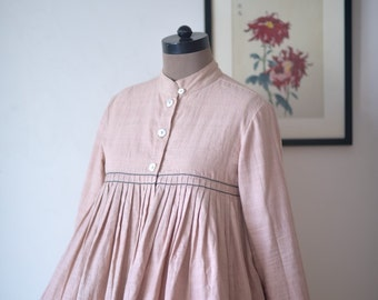 Small - Dublin, Pure Khaadi Flared Jacket with Hand Embroidery ~ Dirty Pink