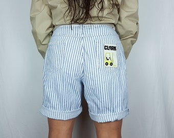 "Striped denim shorts FORKLIFT patched denim 90s mom shorts vintage jean shorts Wrangler shorts - 32"" waist"