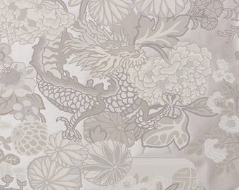 Chiang Mai Dragon Wallpaper in Limestone Schumacher Wallcovering, Chinoiserie Style Chinese Dragon Gray Monochromatic Flowers