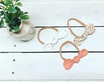 Head Band Set - Baby Girl Headbands - Linen  Baby Headbands  - Floral Headband  - Baby shower gift - Toddler Headbands - Little girl bows