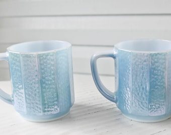 Vintage Federal Blue Pearl Iridescent Stacking Mugs-Heat Proof