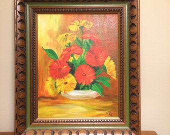 Original painting of flowers from 1970 - bright and sunny red and yellow