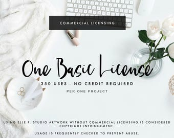ONE Basic COMMERCIAL Use License for 1 Listing of Artwork - Up to 350 Copies - 1 Project - No Credit Needed