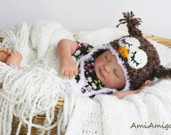 Crochet Fuzzy Brown Sleepy Owl Hat (Newborn)