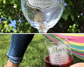 Mother's Day Gift for Mom Wife Girlfriend Gift for Women Wine Glass