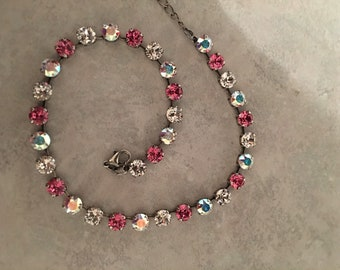 Pink; aurora borealis and clear Swarovski crystals necklace