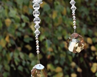 Swarovski Suncatcher Crystals with Sea Shell Crystal. Housewarming Gift. Ocean Crystal Sun Catcher Cascade. Girlfriend Gift Idea. A0044