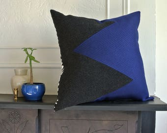 """Modern Geometric Quilted Wool/Cashmere Pillow Cover 22"""" x 22""""."""