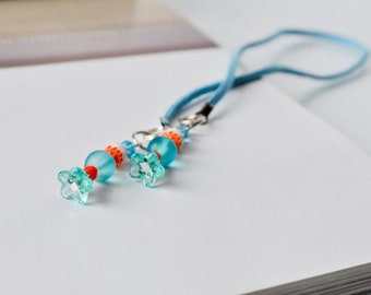 Spring Flower Bookmark, Turqouise and Orange Flower Beaded bookthong leather cord book thong, Unique handmade booknerd gift