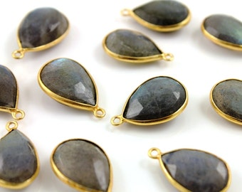 Natural Labradorite Faceted Bezel Pear, 24K Gold Vermeil Over Sterling Silver, Incredible Blue Fire 13x18mm, 1 Piece, (BZCT2502)