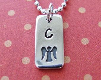 custom silver angel necklace