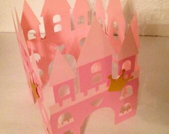 2 Castle Centerpieces 3D, Castle wrap around, Pink and Gold party