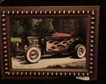 Hot rod roadster framed photo