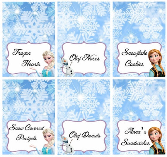 Used Party Tents For Sale >> Disney Frozen Food Labels Placecards Tent Cards Favor Tags