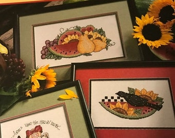 APRILSALE Vintage Leisure Arts Sunflowers and Snickerdoodles counted cross stitch leaflet 2885