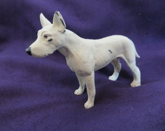 Vintage Bull Terrier Dog figurine Painted Cast Metal Sixties