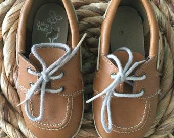 Vintage Baby Deer boat shoes, moccasins, leather loafers, leather slip on moccasins, toddler loafers, bohemian toddler shoes, hipster kids,
