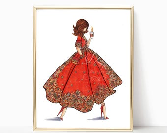 Fall Hustling - Fashion Illustration (Print)