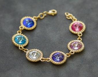 Personalized Mothers Jewelry, Mothers Day Gift Grandma, Birthstone Bracelet Gold, New Mom Jewelry, Grandmothers Bracelet