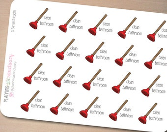 Clean Bathroom | Chores | Cleaning Planner Stickers perfect for Erin Condren Life Planner, Kikki K, Filofax, Happy Planner, Mambi Planner