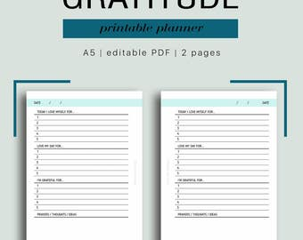 A5 Gratitude Journal - Editable Gratitude Journaling, Daily Gratitude, Day of Gratitude, Gratitude Print,  pages // Household PDF Printable