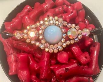 Vintage 1950's soft blue and Aurora Borealis stunning large brooch....