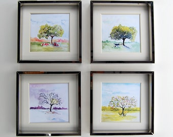 Four Seasons Art, Watercolor painting, Wall Decor, Spring, Summer, Fall and Winter