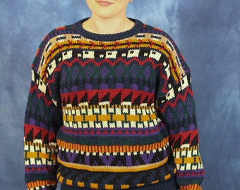 Vintage 80s 90s Multicolor Sweater // Geometric Patterns // Gulf Traders // Pullover