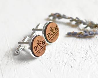 Custom Cufflinks - Wedding Cufflinks - Wood Cufflinks - Mens Cufflinks - Groom Cufflinks - Personalised Cuff Links - Personalized