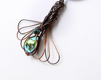 Abalone Shell Pendant Necklace; Oxidized Copper Wire Wrapped Pendant, Unique Ooak design woven Pendant, Anniversary Gift, Workplace Jewelry