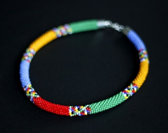 Colorful African Necklace, Rainbow Necklace, Multicolor Beadwork Necklace, Bead Crochet Necklace, Maasai Style Necklace