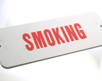 Smoking Allowed Vintage Metal Smoking Sign Red & White Small Metal Sign
