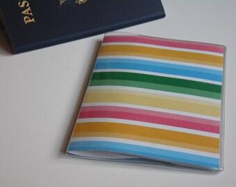 Plastic Passport Cover, Bright Rainbow Stripes, Passport  Sleeve, Case, Holder
