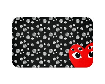 Comme Des Garcons Inspired bath mat, Dots Pattern Bath Mat, Bath mat