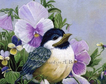 CHICKADEE PRINT-PANSIES; nature, in the garden, among the pansies, baby chickadee, 7.5 x 10 inches, wall art,