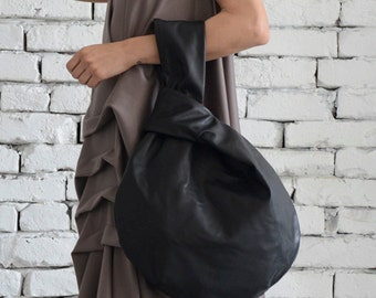 Black Circle Bag/Modern Leather Bag/Extravagant Genuine Leather Tote/Small Black Clutch/Casual Black Leather Handbag/Mini Tote Bag/Clutch