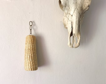 Woven wicker hanging bell, wind chime