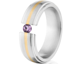Tension Set Ring, 7mm, Uniequly You, Two Toned Titanium and Yellow Gold, Amethyst, 7HRRC1G-14k-BR