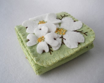 3D White Dogwood Felt Needle Book,  Large Tri-Fold Needle Wrap Wallet,  Magnetic Closure,  Wool Felt, Asian Floral,  Celery Green and White