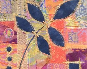 Indigo Leaf: framed textile art