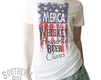 Merica Whiskey Red White and Blue Shirt. Merica. Merica Shirt. Whiskey Shirt. Southern Shirt. Country Clothing.