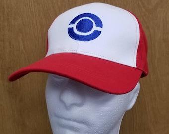 Ash Ketchum Hat Pokeball Blue Logo Baseball Cap Trainer Original Version Halloween Costume Best Quality Cosplay Go Embroidery Mens Gift Idea