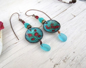 """Contemporary earrings bohemian with glass pebbles : """"Lands Of Heaven"""" ...."""