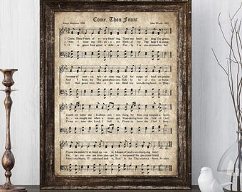 Come Thou Fount Print, Printable Vintage Sheet Music, Instant Download, Antique Hymn, Hymnal Page, Christian Wall Art, Church Decor, PDF