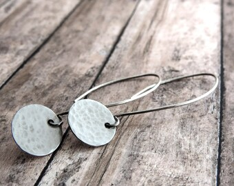 Minimalist Sterling Silver Hammered Disc Earrings with Long Sterling Silver Ear Wires