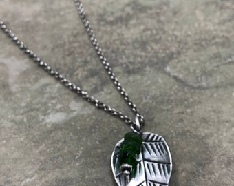 Ferngully - Chrome Diopside and Sterling Necklace