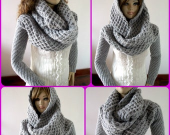 KNITTING PATTERN Scarf hood with Sleeve big scarf with long sleeves hooded scarf Khloe Scarf Sleeves Sweater Wrap - Instand Download PDF