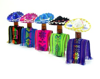 Bottle covers, 5 Tribal covers in different colors, Fiesta decoration, Wedding decor, 5X12 inches, Mexican fiesta, Water cover.