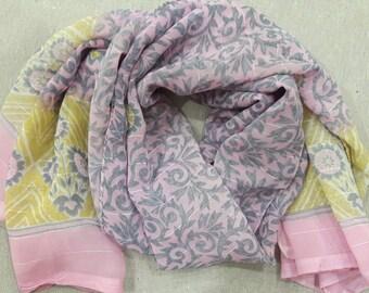 Small Scarf Indian Sari Scarf Pink Scarf Paisley Scarf SSF1